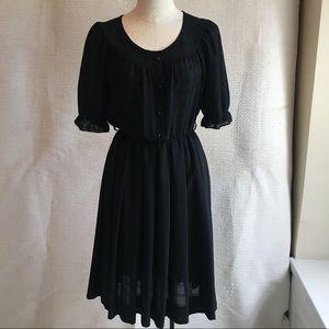 VTG French Vintage Prairie Day Dress Black